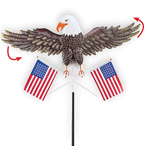 Collections Etc Flying Eagle with American Flag Yard Stake - Outdoor Patriotic Decorative Accent for Yard or ()
