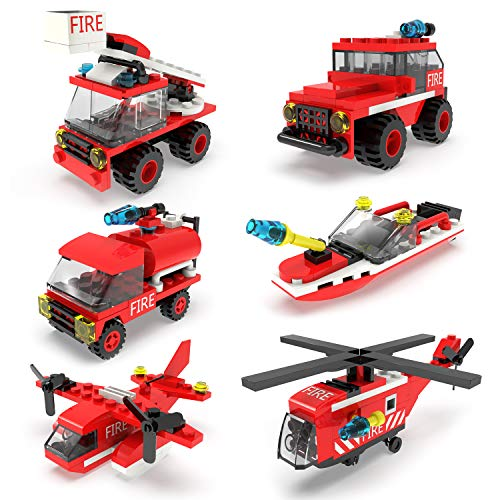 FUN LITTLE TOYS 222Pcs Fire Rescue Vehicles Building Blocks Set in 6 Different Models Including Fire Boat,Helicopters and Fire Truck for Kids Party Favors