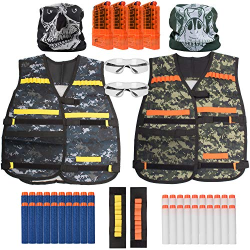 Pack Compatible Supply (USA Toyz Compatible Nerf Vest Set – 50pc Nerf Party Supplies, Accessories and Games for Kids and Adults, 2 Vests for Nerf Darts and Guns for Boys and Girls)