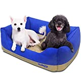 Blueberry Pet Heavy Duty Microsuede Overstuffed Bolster Lounge Dog Bed, Removable & Washable Cover w/YKK Zippers, 34'' x 24'' x 12'', 11 Lbs, Blue and Beige Color-block Beds for Cats & Dogs