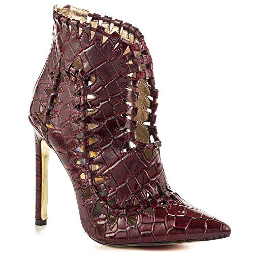 Luichiny Women's Stone Cold Bootie,Wine Croco Leather,US 9 M
