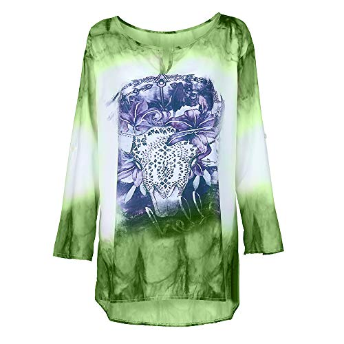 Embossing Trim - Miuye yuren Women's Tops Short Sleeve and Long Sleeve Lace Trim O-Neck A-Line Tunic Blouse Green