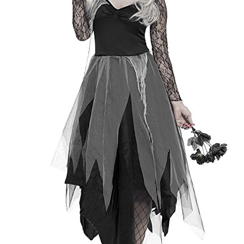 BullStar Halloween Costumes Zombie Costume Ghost Bride Dress for Adults Women Girls Halloween Cosplay Party (XL-US Size 6)