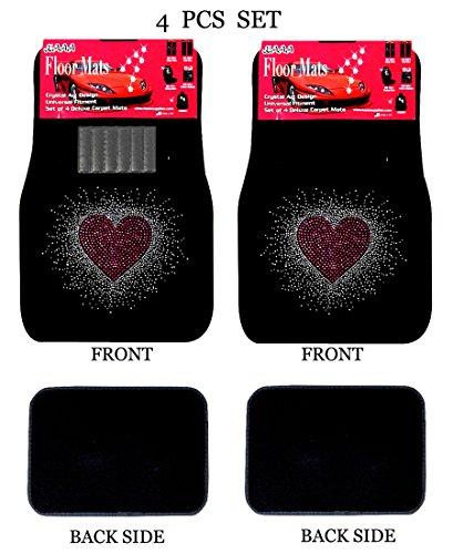 - ALLBrand Universal Fit Front/Rear 4-Piece Full Set Crystal Bling Rhinestone Studded Carpet Car SUV Truck Floor Mats (Sweet Heart/Black)