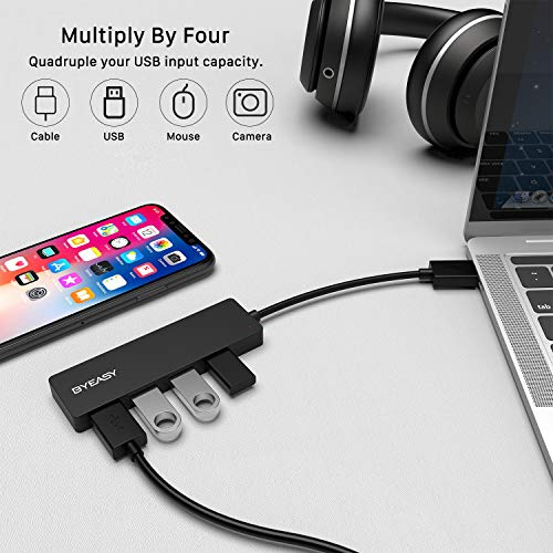 USB Hub, BYEASY 4 Port USB 3.0 Hub, Ultra Slim Portable Data Hub Applicable for iMac Pro, MacBook Air, Mac Mini/Pro, Surface Pro, Notebook PC, Laptop, USB Flash Drives, and Mobile HDD (Leather Black)