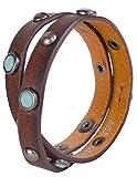 Southwestern Jewelry Leather Wrist Wrap Bracelet with Turquoise Studs
