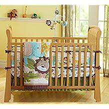 African Lion Elephant 7pcs crib set Baby Embroidered Cartoon Bedding Set Crib Bedding Set Girl Boy Nursery Crib Bumper bedding