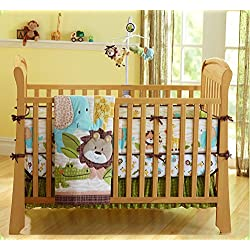 Cute Lion Safari Baby Boy 7 Pieces Nursery Crib Bedding Set With Bumper Green