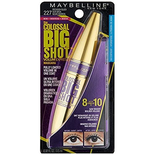 Amazon.com: Maybelline Volum Express The Colossal Big Shot Waterproof Mascara, 227 Brownish Black (Pack of 2): Beauty