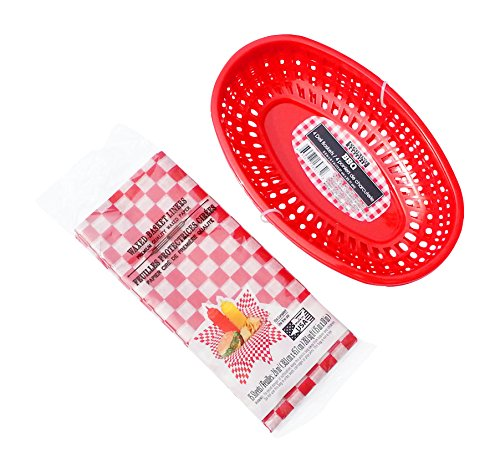 Hot Dog, Burger, Sandwich Serving Set for 4 Guests - 4 Red Baskets and 15 Red Check Food Basket Liners - Bundle 2 (Burger Basket)