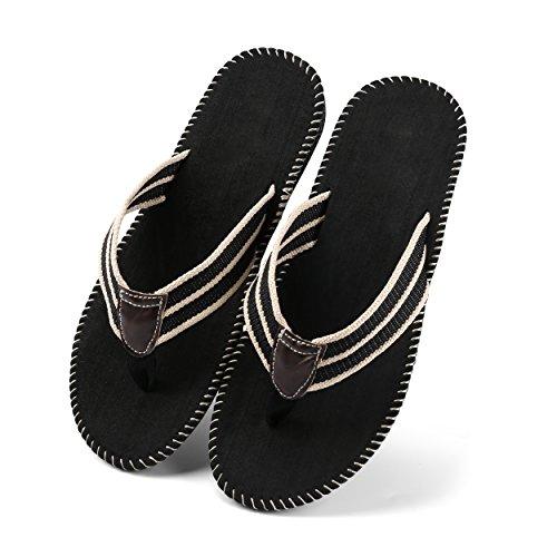 Aerusi Mens Garçons Loisirs Tongs Décontracté Tresse Sangle Tongs Été Plat Sandales Pantoufles Chaussures Noir