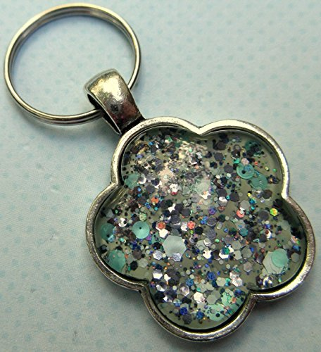 Mint Green Glitter Glass Flower Keychain Hand-painted (Art Glass Keychain)