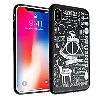 iPhone X Case, DURARMOR FlexArmor iPhone Xs/XHarry Potter Spells Master of Death Cover Bumper ScratchSafe Rubber TPU Case Drop Protection Cover for iPhone X/XS Harry Potter Spells