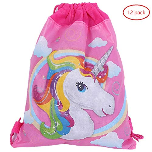 12 Pack Unicorn Gift Bags Halloween Candy Bags for Holiday Birthday Halloween Christmas New Year Drawstring Party Bag,10.6