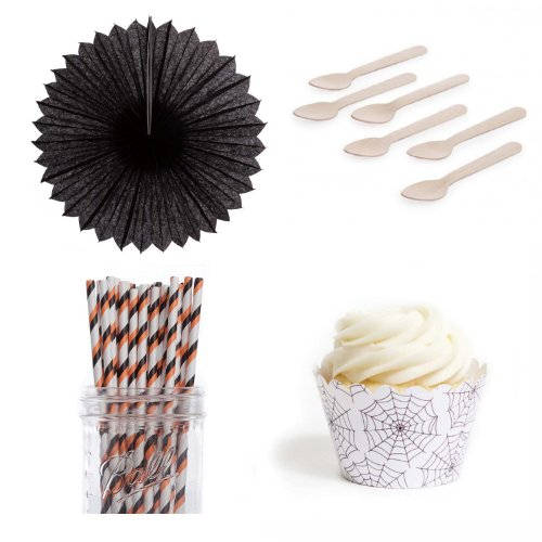 Dress My Cupcake DMC432937 Dessert Table Party Kit with Pinwheel Fans and Standard Wrappers, Halloween Chic