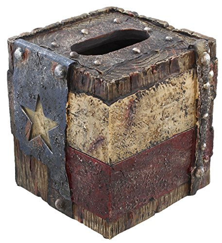Welded Box - Decorative Texas Lone Star Flag Rustic Square Tissue Box Cover - Weathered Wood and Welded Metal Look