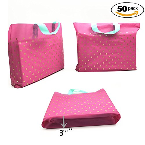 sesco-12x15x3-1-2-luxurious-extra-thick-frosted-hot-pink-dots-print-poly-merchandise-bags-shopping-b