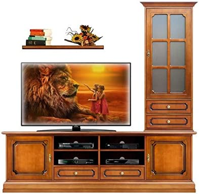 arteferretto Composición Muebles pared salón estilo clásico, base porta Tv/vitrina appoggiata Base/estante, madera tinta Cerezo, estilo clásico: Amazon.es: Hogar