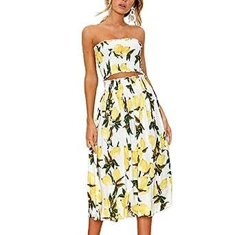 YISHIWEI Women's Sunflower Floral Crop Top Maxi Skirt Set