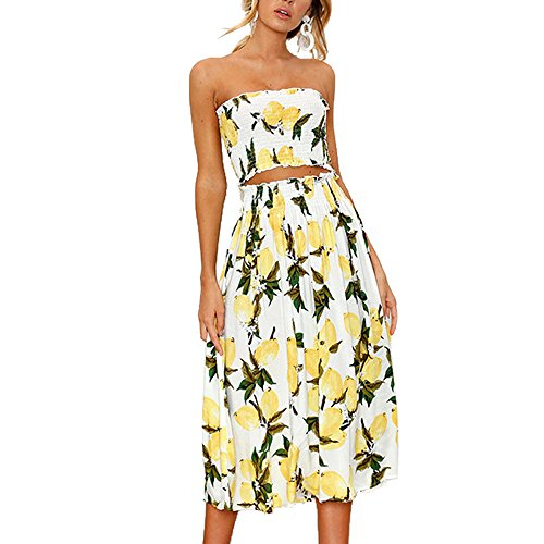 (YISHIWEI Women's Sunflower Floral Crop Top Maxi Skirt Set 2 Piece Outfit Dress (Lemon, Small))