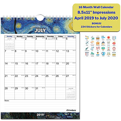 - Small 2019-2020 Academic Wall Calendar (Impressions) 8.5x11 Stunning Monthly Hanging Calendar, 16 Months Use to July 2020, Monthly Calendar with Calender Stickers, School Year Calendar