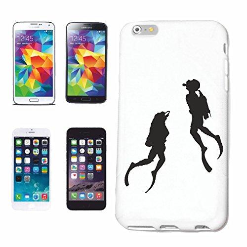 """cas de téléphone iPhone 7+ Plus """"SILHOUETTE plonger plongeur ÉQUIPEMENT PLONGÉE PLONGÉE"""" Hard Case Cover Téléphone Covers Smart Cover pour Apple iPhone en blanc"""