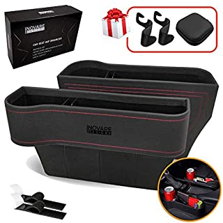 Inovare Designs Car Seat Gap Filler, Multifunctional Car Seat Organizer with Cup Holder, Car Console Side Organizer for Cellphones, Wallets, Keys, Coin, Cards, Sunglasses