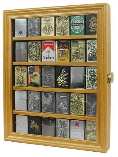 (Lockable Cigarette/Sport Lighter Display Case Wall Cabinet Shadow Box LC30 (Oak))