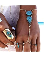 Victray Boho Hand Chains Bracelets Turquoise Rings Stylish Fashion Hand Accessories Jewelry for Women and Girls