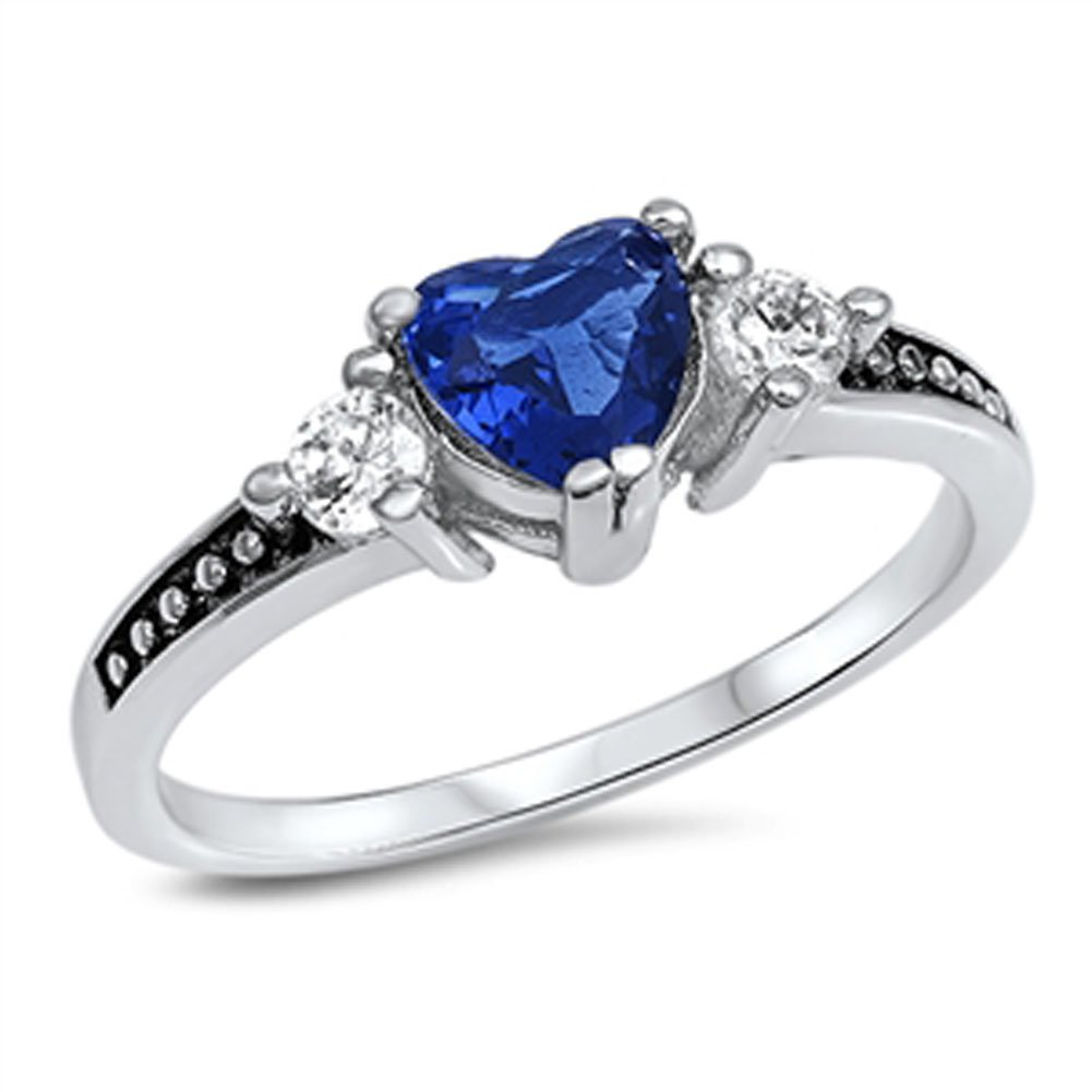 Blue Simulated Sapphire Heart Promise Ring New .925 Sterling Silver Band Size 13