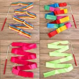 4 Pack 2-Meter/ 78.7inch (6.56 ft) Dance Ribbons, Rainbow Streamers Rhythmic Gymnastics Ribbon, Baton Twirling Wands on Sticks for Kids Artistic Dancing