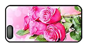Hipster iphone 5S fancy case Bouquets flowers pink roses PC Black for Apple iPhone 5/5S