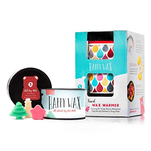 Snowman Wax (Happy Wax Wax Warmer & Wax Melts Starter Kit - Enjoy our Patent Pending Outlet Wax Warmer in Classic Leopard + 3.6 Oz. Holiday Mix Soy Wax Melts [Evergreen Trees, Snowman S'mores, Apple Cider])