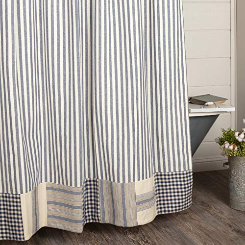 Piper Classics Doylestown Blue Ticking Shower Curtain w/Block Border, 72x72, Blue & Cream Checks, Grain Sack and Ticking Stripes, Rustic Farmhouse, Country, Cottage Bathroom ()