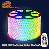 SuperonlineMall™ AC 110-120V Flexible RGB LED Strip Lights, 60 LEDs/M, Waterproof, Multi Color Changing 5050 SMD LED Rope Light + Remote Controller for Wedding Party Decoration (164ft/50m)