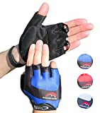 Cycling Gloves Mountain Bike Gloves Road Racing Bicycle Gloves for Biking, Mountain Biking, Riding, Gym, Sports, Foam Padded Breathable Half Finger Gloves, Men Women Work Gloves Blue Xlarge