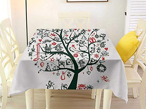 L'sWOW Square Tablecloth Yellow Christmas Large Tree with New Year Ornaments Presents and Candles Angels Holiday Theme Green Vermilion Kitchen 60 x 60 Inch