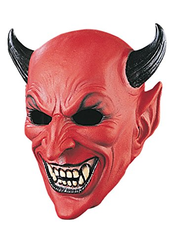 Very Scary Adult Horned Devil Deluxe Latex Costume Mask (Standard)