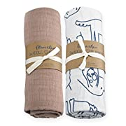 Oliver & Rain - Taupe and Dog Print Swaddle 2-Pack