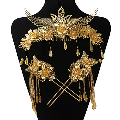 Bride Headdress Costume Suit Chinese Wedding Jewelry Show Jewelry Hair Ornaments Dragon And Phoenix Coronet]()