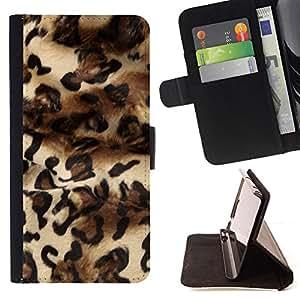 BullDog Case - FOR/Apple Iphone 4 / 4S / - / leopard fashion fur design dress pattern /- Monedero de cuero de la PU Llevar cubierta de la caja con el ID Credit Card Slots Flip funda de cuer