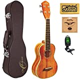 Oscar Schmidt OU5 Concert Ukulele, Koa Top, Satin Finish,w/HardCase,Tuner,Strings & PC