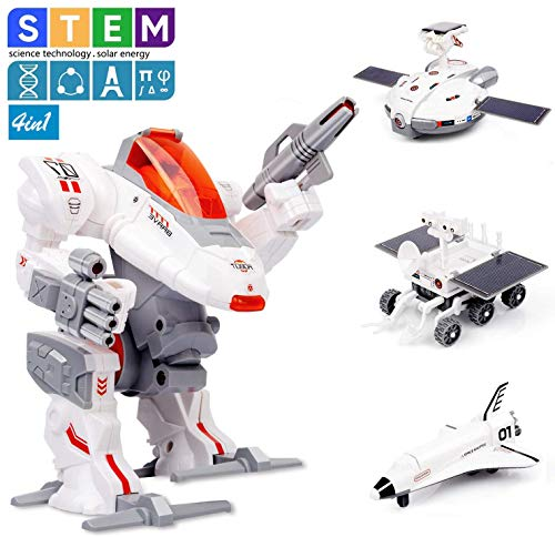 M&Ostyle 4-in-1 STEM Building Kits Robot Science Kits Solar Power Moon-Exploring Fleet Kits Engineering Science Educational Building Toys Kits for Boys and Girls Age of 8+