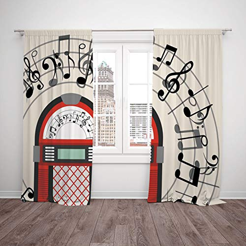 Thermal Insulated Blackout Window Curtain,Jukebox,Cartoon Antique Old Vintage Radio Music Box Party with Notes Artwork,Black White Grey and Red,Living Room Bedroom Kitchen Cafe Window Drapes 2 Panel S
