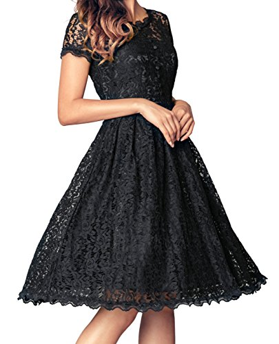 black bridesmaid dress with short sleeves - 6