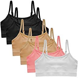 Popular Girl\'s Adjustable Seamless Cami Bra - 6 Pack - Large