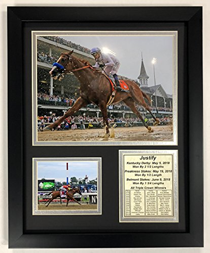 Horse Racing Photo (Legends Never Die Justify - 2018 Triple Crown Winner - Framed 12
