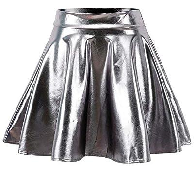 Jasmine Women's Retro Disco Metallic Wet Liquid Mini A-Line Skater Skirt