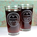 Personalized Engraved Brewing with Beer Names (Set of 2) Pints Glasses
