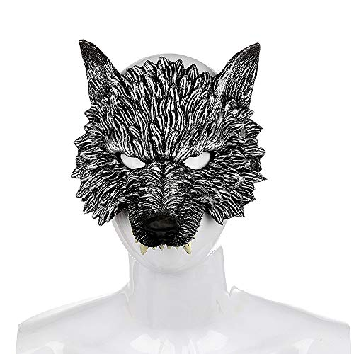 BaronHong Wolf Cosplay Halloween Creative Realistic PU Headgear Half Mask(Black,M)